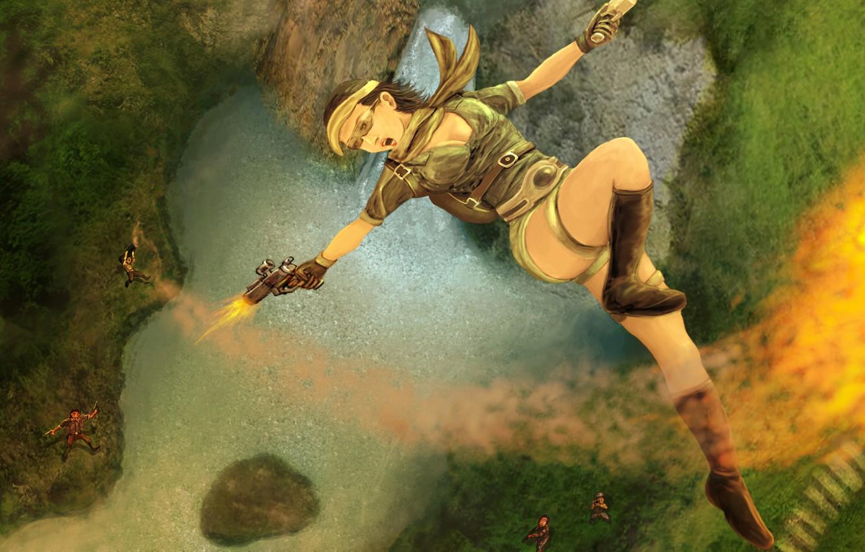 Photo wallpaper girl, guns, the game, art, Tomb Raider, lara croft, shoots