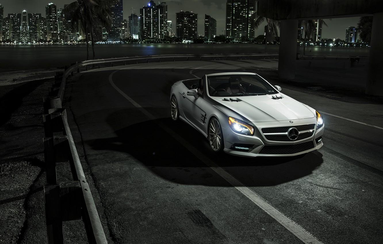 Photo wallpaper car, night, Mercedes, Roadster, rechange, SL550