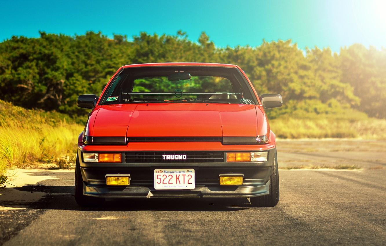 Photo wallpaper red, toyota, corolla, ae86, front, Toyota, Corolla, trueno