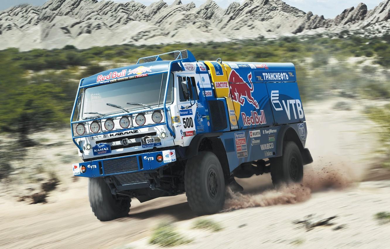 Photo wallpaper sand, the sky, grass, clouds, trees, mountains, speed, truck, speed, KAMAZ, kamaz, Dakar, dakar, kamaz …