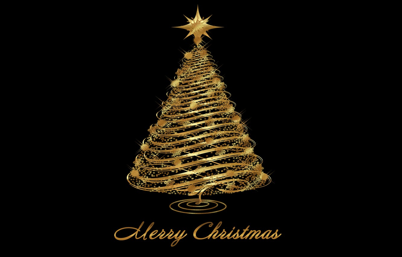 Photo wallpaper tree, New Year, Christmas, golden, Christmas, tree, New Year, Merry