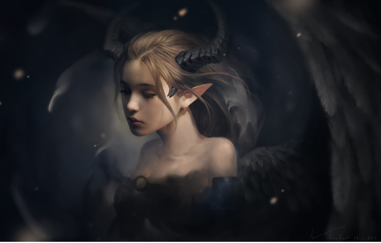 Photo wallpaper sadness, girl, mood, wings, fantasy, art, tear