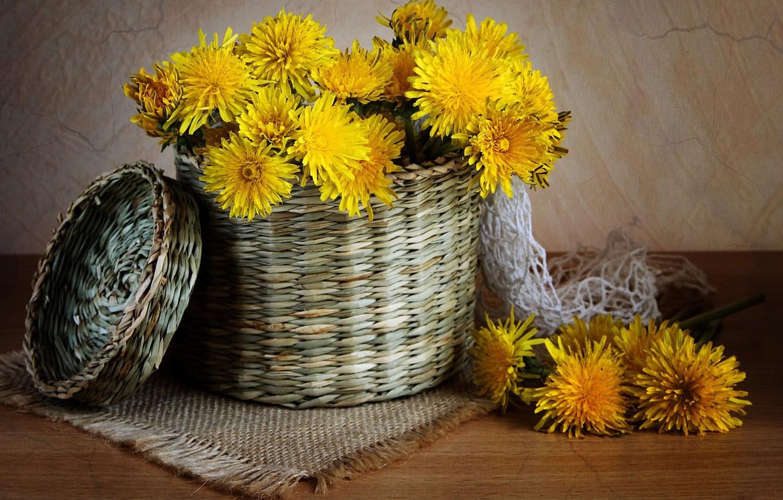 Photo wallpaper table, basket, dandelions, yellow, braided, napkin