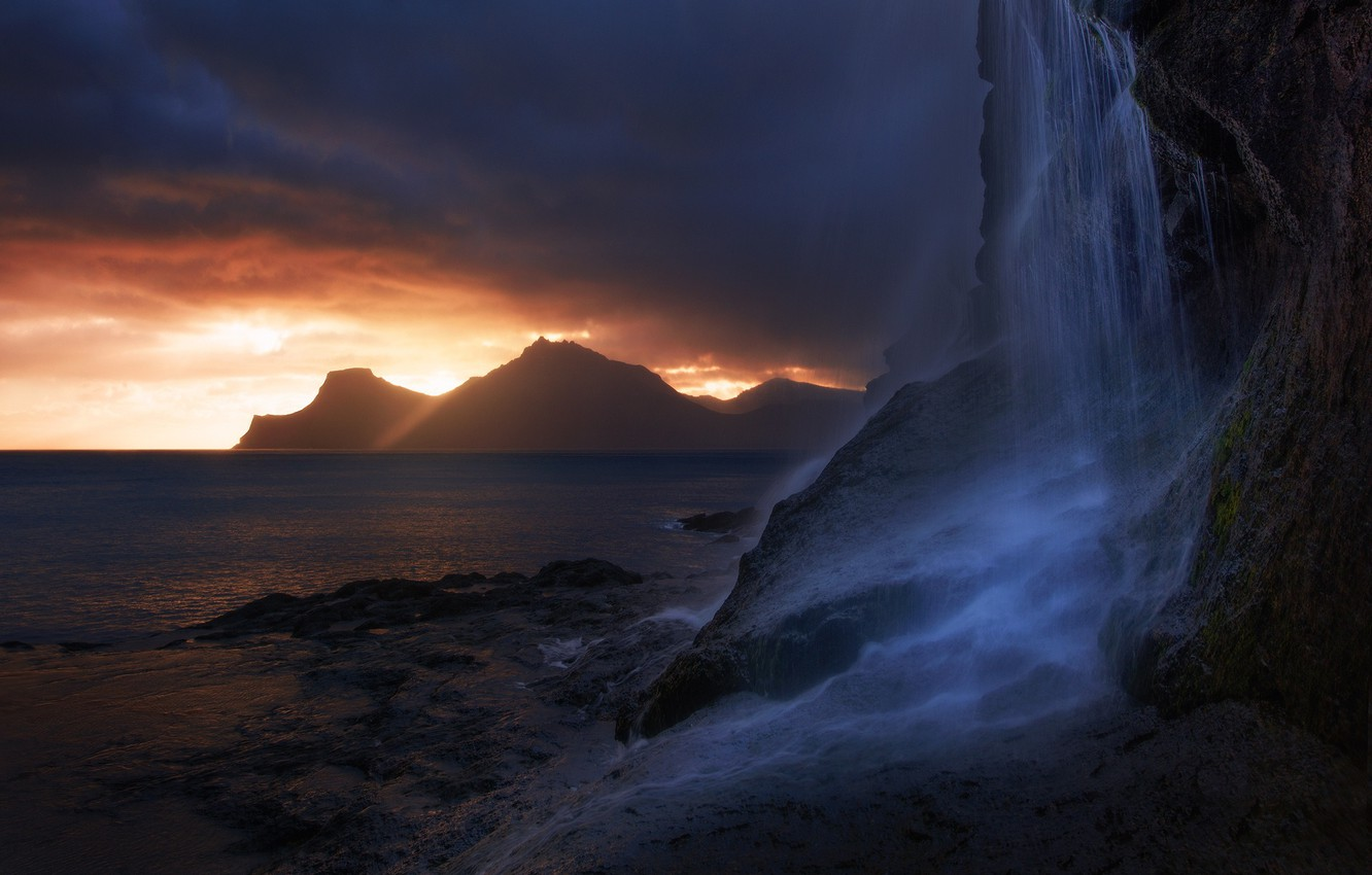 Photo wallpaper sea, the sky, light, mountains, clouds, nature, rocks, waterfall