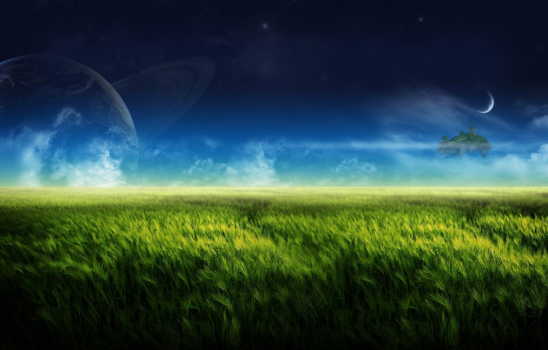 Photo wallpaper greens, nature, the moon, island