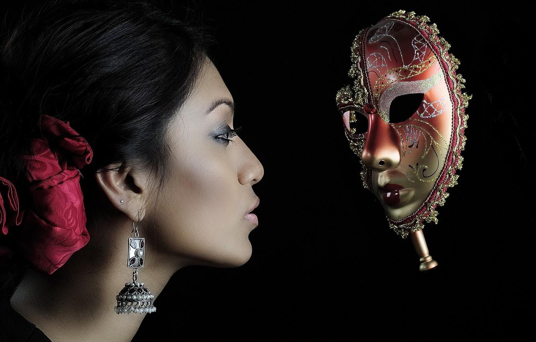 Photo wallpaper girl, style, mask