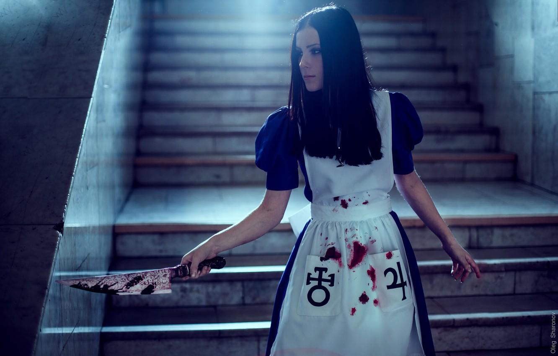 Photo wallpaper girl, background, knife