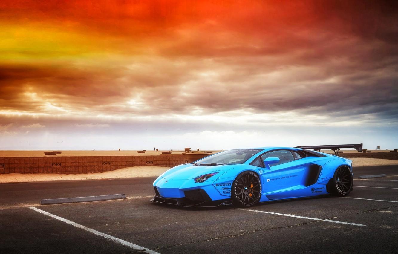 Photo wallpaper Lamborghini, Sky, Blue, Front, Sunset, Aventador, Supercar, LP720-4, Liberty, Walk, LB Perfomance