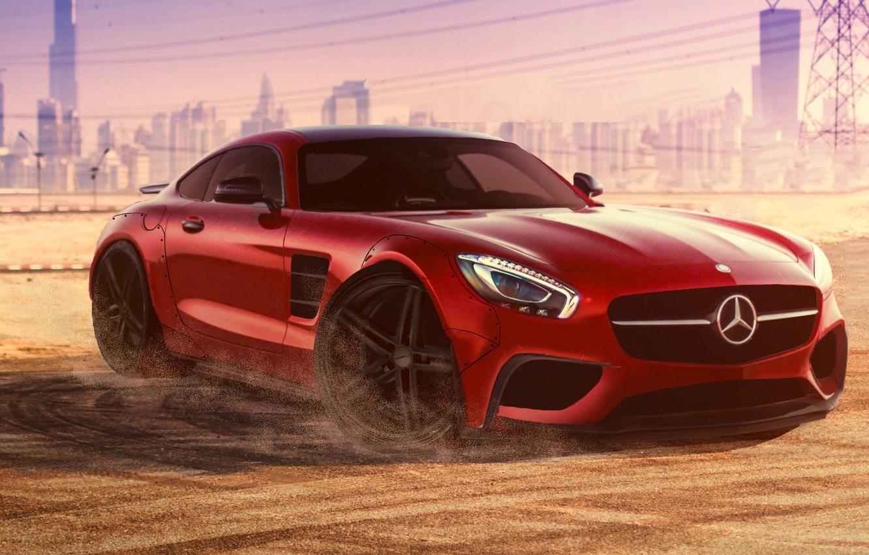 Photo wallpaper Mercedes-Benz, Red, Dubai, Front, AMG, Supercar, Liberty, 2015, Walk, GT S