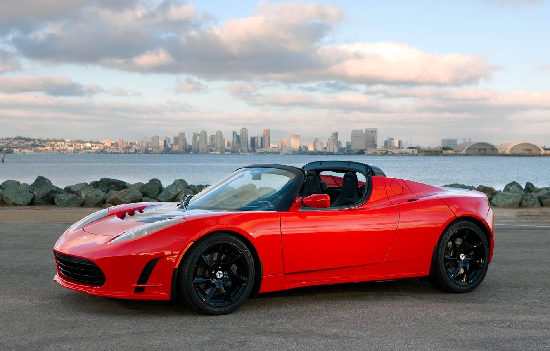 Photo wallpaper car, auto, city, the city, Wallpaper, Roadster, sky, Tesla, Sport
