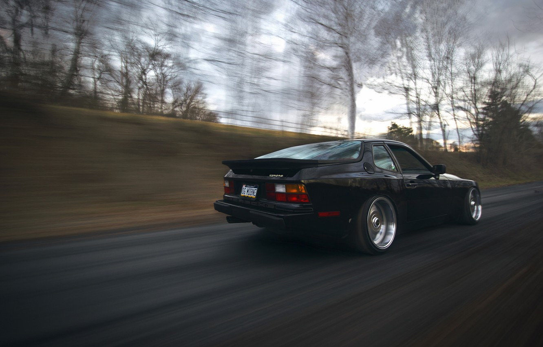 Photo wallpaper road, black, speed, porsche, Porsche, black, stance, 944