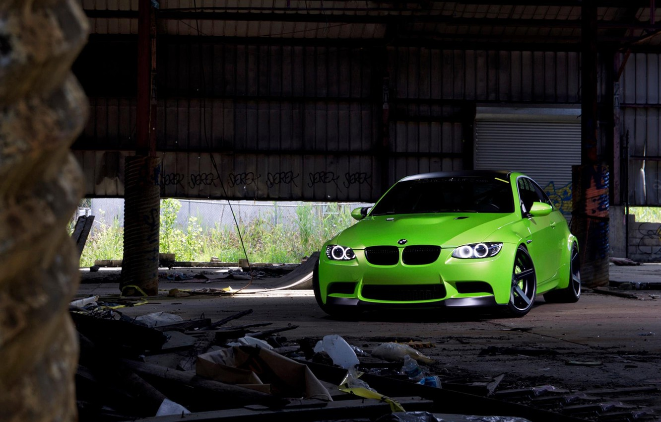 Photo wallpaper green, green, coupe, BMW, BMW, the front, e92, daylight, tinted