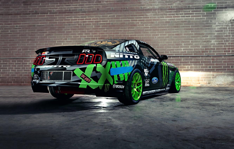 Photo wallpaper Mustang, Ford, Drift, Wall, Green, Black, RTR, Team, Competition, Sportcar, Vaughn Gittin Jr, Monster energy