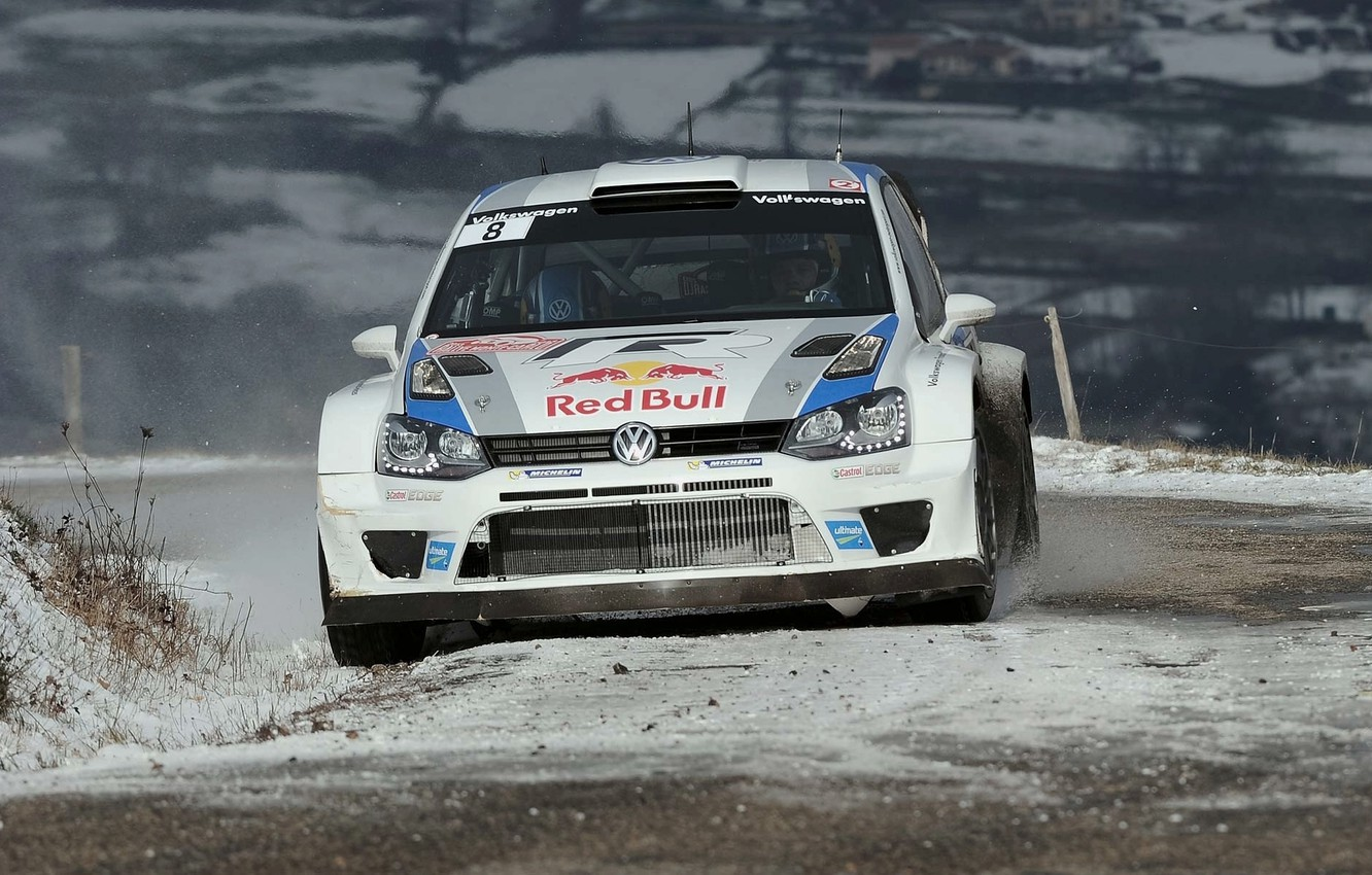 Photo wallpaper Snow, Volkswagen, Red Bull, WRC, Rally, The front, Polo
