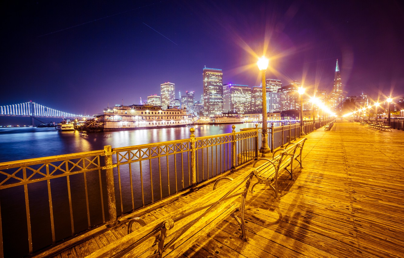 Photo wallpaper night, lights, promenade, San Francisco