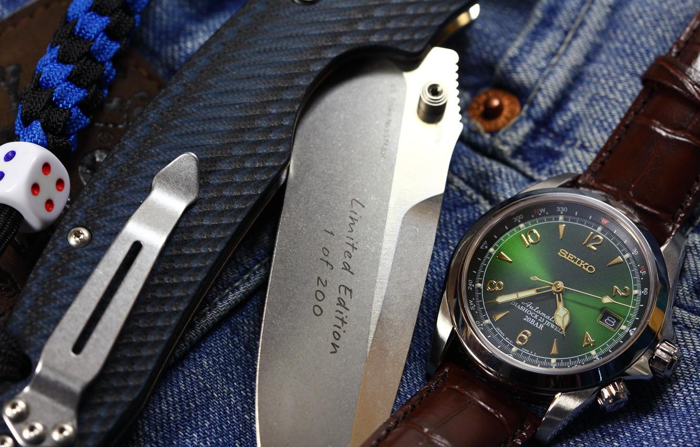 Photo wallpaper watch, knife, folding, dice