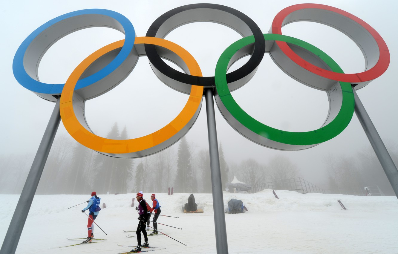 Photo wallpaper winter, forest, the sky, snow, fog, bottom, skiers, Russia, The Olympic rings, Sochi 2014, complex …