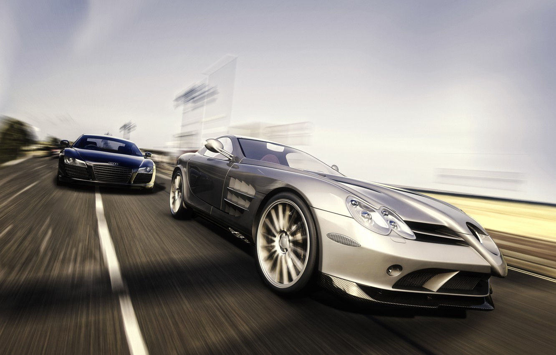 Photo wallpaper rendering, Audi, SLR, Mercedes, Benz