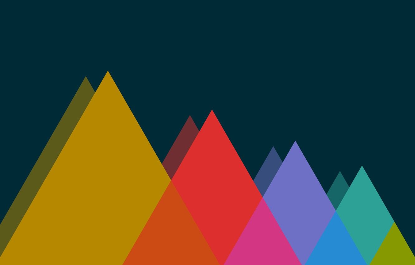 Photo wallpaper Mountains, Color, Color, Mountains, The dark background, Triangles