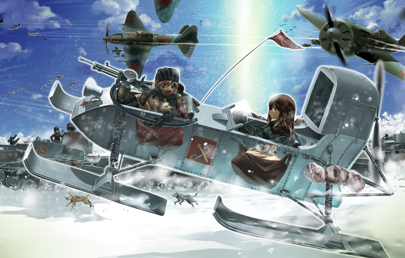 Photo wallpaper dogs, snow, girls, art, aircraft, tanks, girls and panzer, the military campaign, r-ex