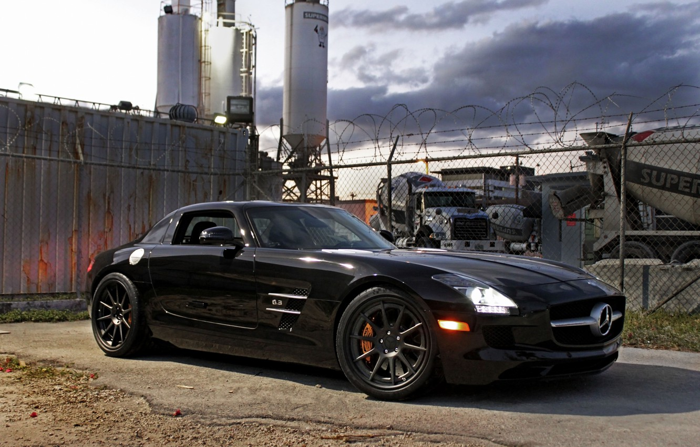 Photo wallpaper black, shadow, the fence, black, front view, Mercedes benz, sls amg, headlights, Mercedes Benz, SLS …