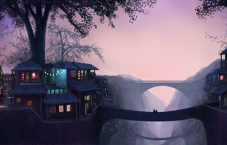 Photo wallpaper light, trees, sunset, romance, home, art, the bridge