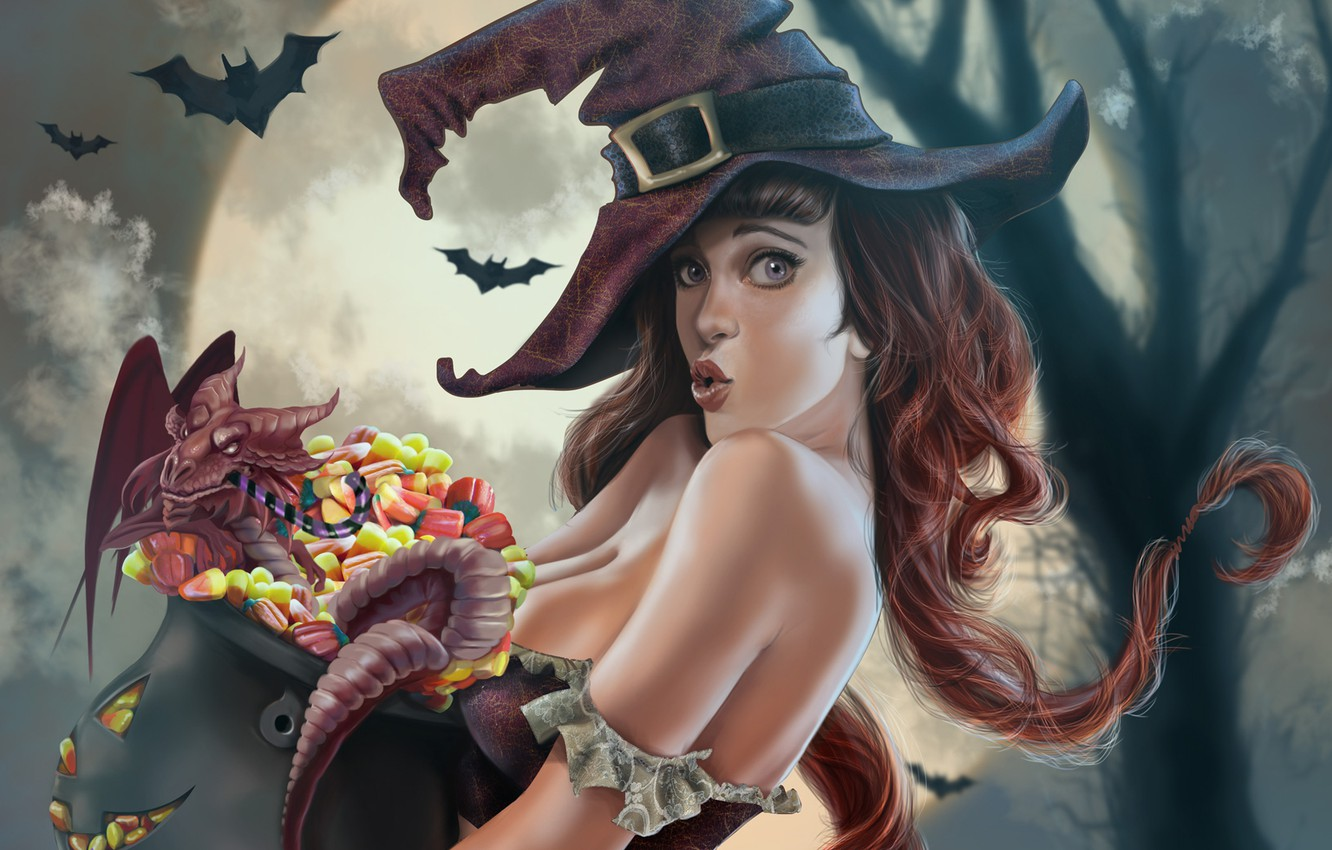 Photo wallpaper chest, girl, night, tree, the moon, dragon, hat, art, sweets, witch, bats, halloween, boiler