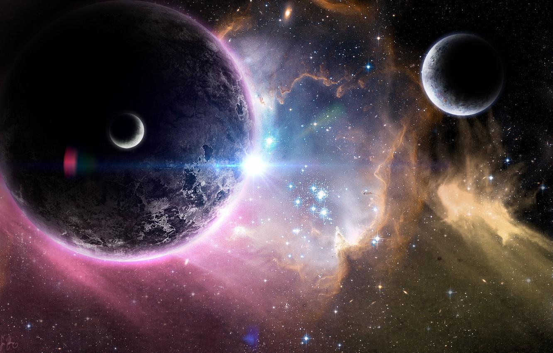 Photo wallpaper space, stars, nebula, planet, art, space, universe, satellites, nebula, art, stars, planets