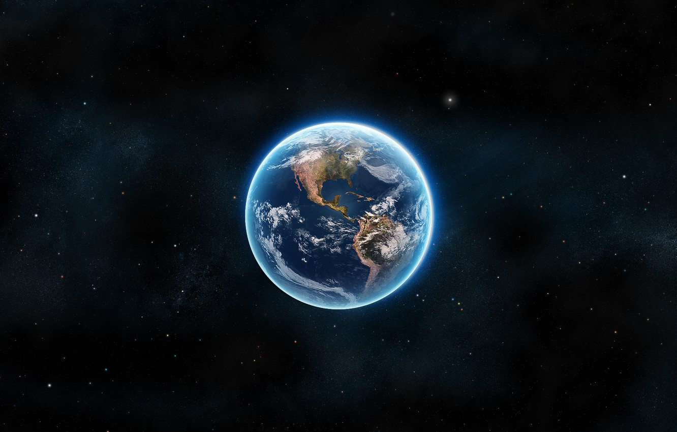 Photo wallpaper space, earth, landscapes, planet