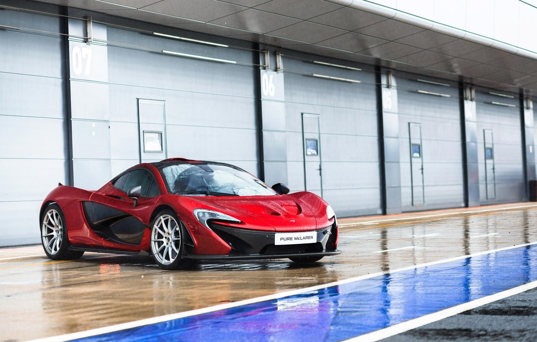 Photo wallpaper McLaren, Red, Rain, Supercar, Wheels, Pure