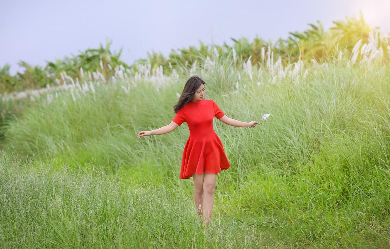 Photo wallpaper field, summer, girl, red, dress, Asian