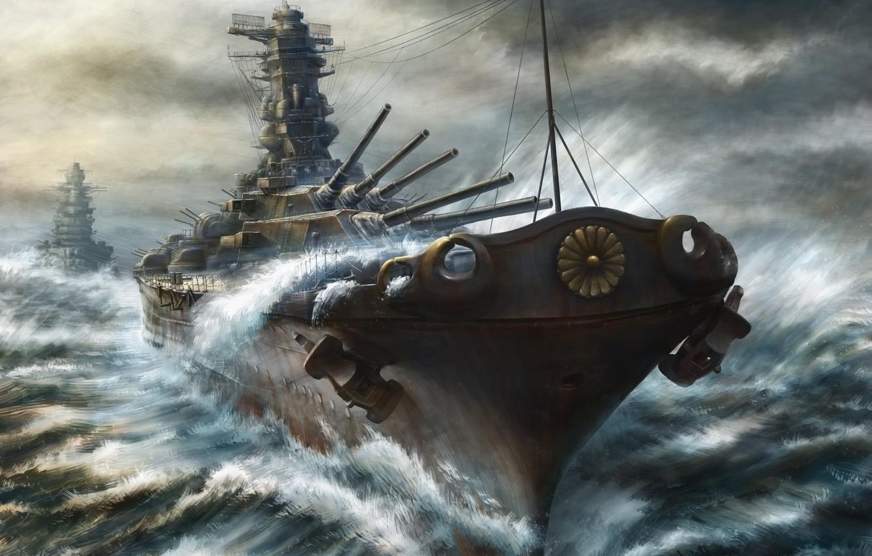 Photo wallpaper sea, paint, ships, storm, gun, art, battleship, cruiser, kashi takahisa
