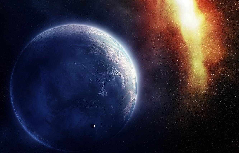 Photo wallpaper city, Galaxy, Stars, Planet