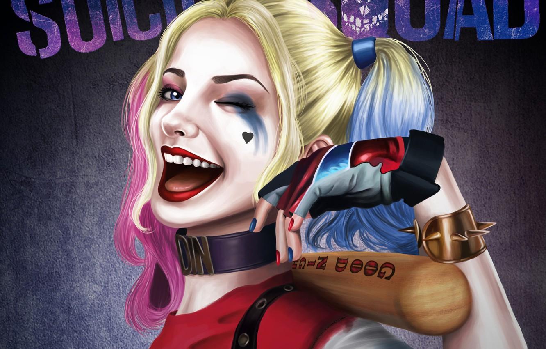 Photo wallpaper look, art, wink, bit, Harley Quinn, Suicide Squad