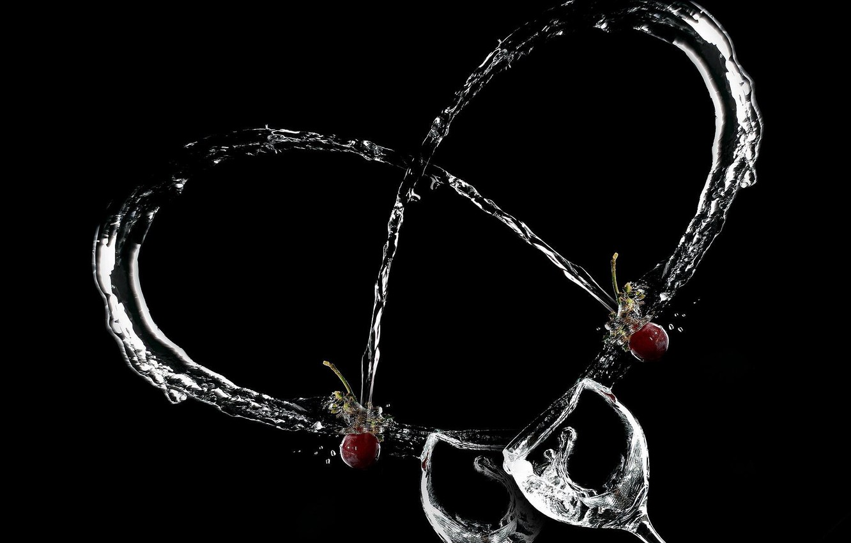 Photo wallpaper heart, glasses, cherry