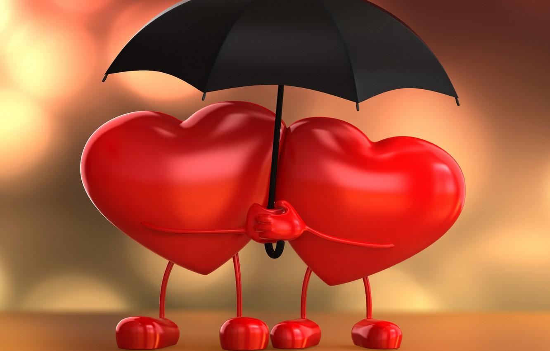 Photo wallpaper love, heart, umbrella, love, lovers, heart, umbrella