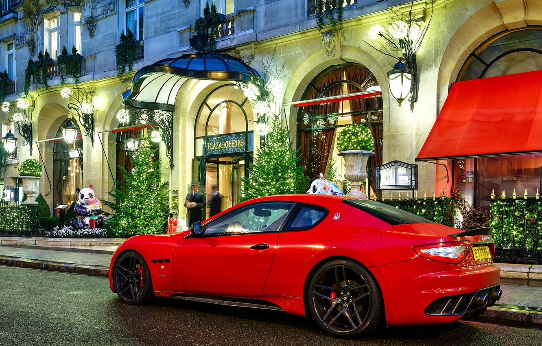 Photo wallpaper night, red, people, Maserati, the building, red, night, Maserati, granturismo, building, novitec