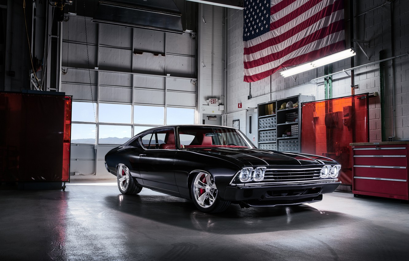 Photo wallpaper Concept, Black, Chevrolet, Retro, 1969, Car, Chevelle Slammer