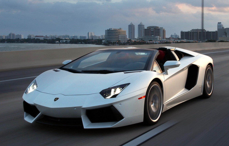 Photo wallpaper road, the sky, white, roadster, LP700-4, Lamborghini Aventador