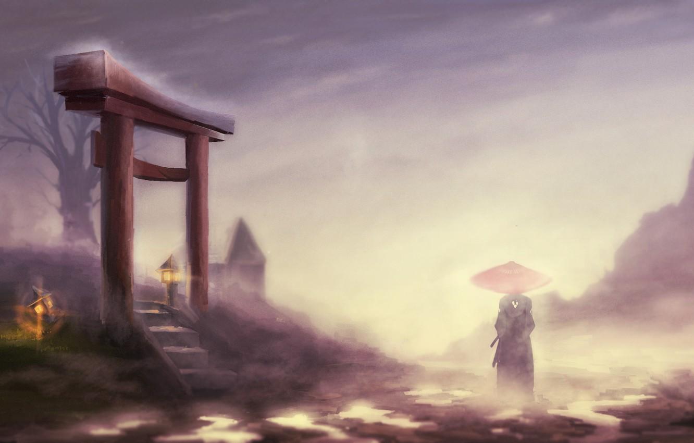 Photo wallpaper landscape, fog, tree, umbrella, samurai, lights, male, kimono, the gates, jin, samurai champloo