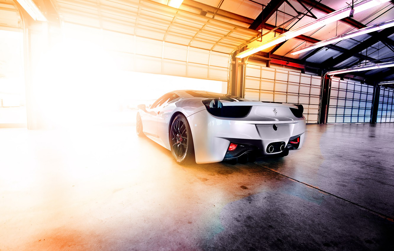 Photo wallpaper light, lamp, garage, hangar, Ferrari, Blik, 458, Italia
