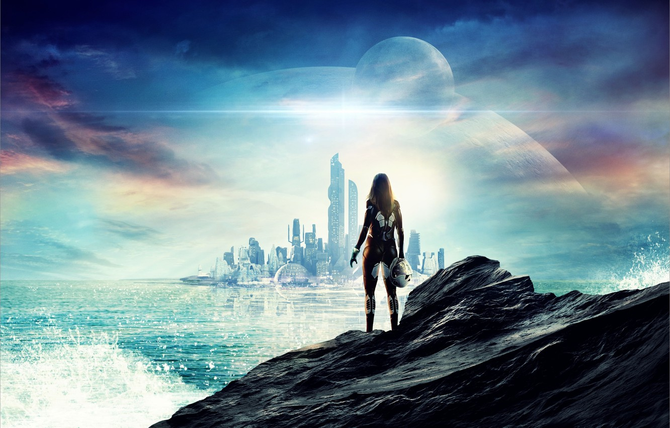 Photo wallpaper sea, the sky, girl, squirt, city, the city, rock, future, fiction, the ocean, dawn, stone, …