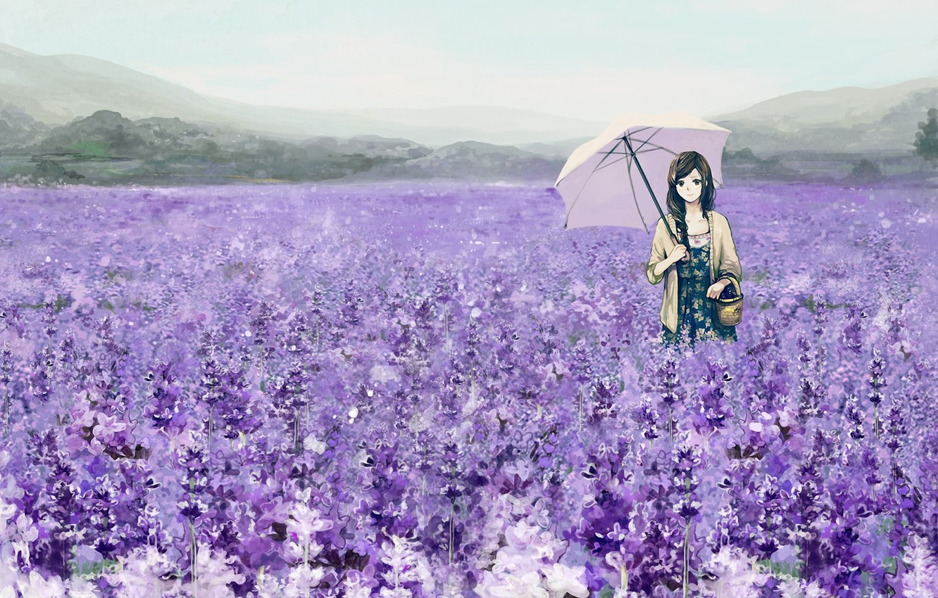 Photo wallpaper field, girl, flowers, umbrella, basket, umbrella, art, lavender