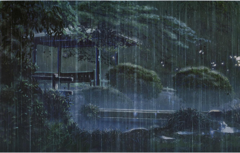 Photo wallpaper bench, Park, rain, the evening, gazebo, the shower, kotonoha no niwa, garden of fine words, …
