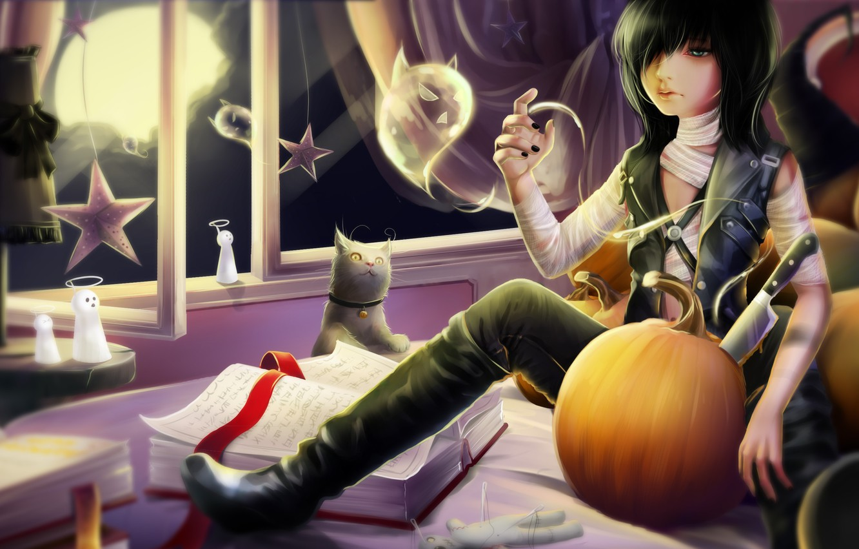 Photo wallpaper cat, room, the moon, books, spirit, window, art, knife, Ghost, tape, pumpkin, guy, records, halloween, …