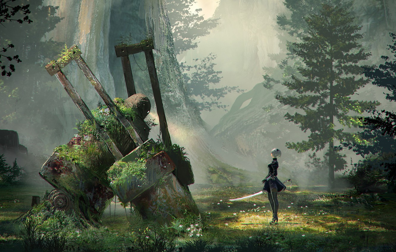 Photo wallpaper girl, mountains, thickets, robot, sword, abandonment, Nier