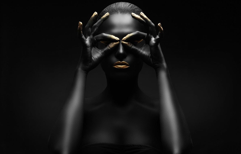 Photo wallpaper gold, black, figure, pose, makeup