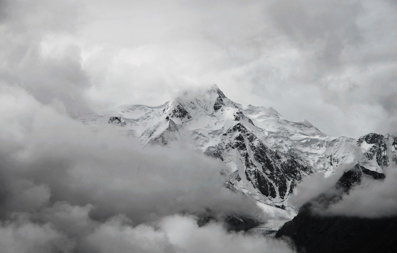 Wallpaper Clouds Snow White Mountain Top Black Images For