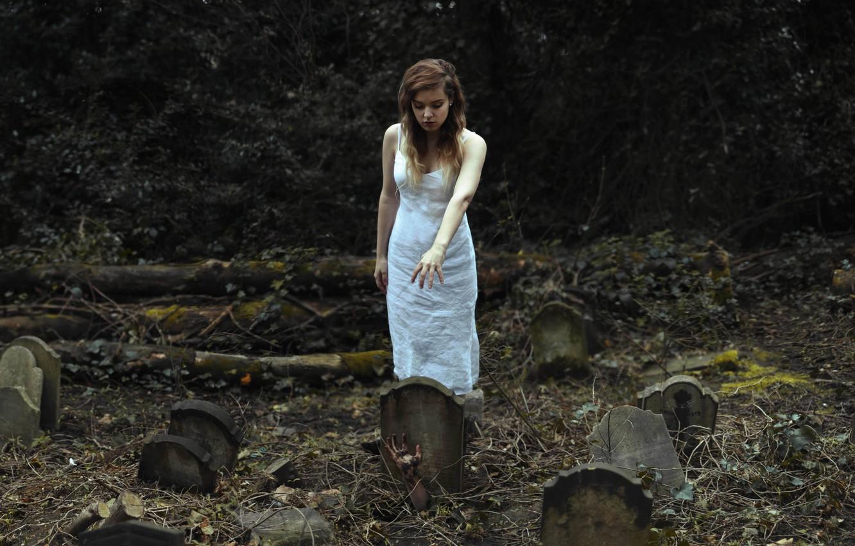 Photo wallpaper girl, graves, hand, cemetery