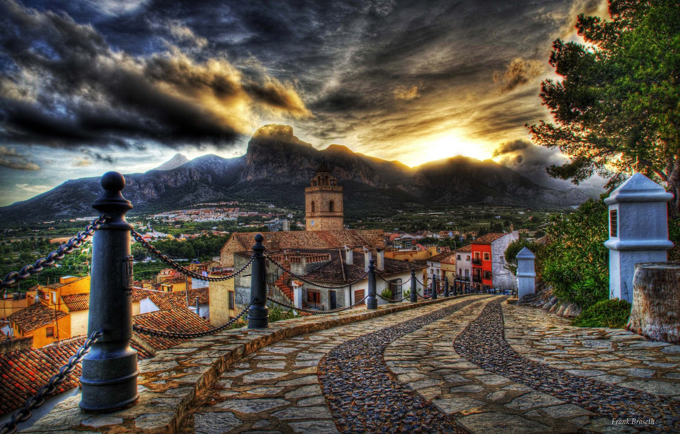 Photo wallpaper road, the sky, clouds, sunset, flowers, mountains, HDR, home, old, colors, colorful, hdr, architecture, road, …